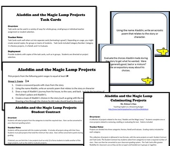 Aladdin and the Magic Lamp Activity Bundle, Word Version