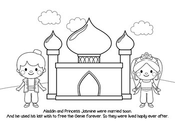 NO PREP! Aladdin Fairy Tales Story and Coloring Book