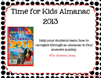 Almanac Scavenger Hunt using Time for Kids Almanac 2013