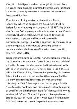 Alan Mathison Turing Handout