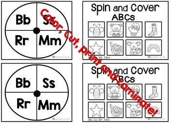 Alphabet Recognition Game: Letter-Sound ID {Spin and Cover}