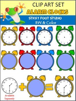 Alarm Clocks Clip Art - Color and BW