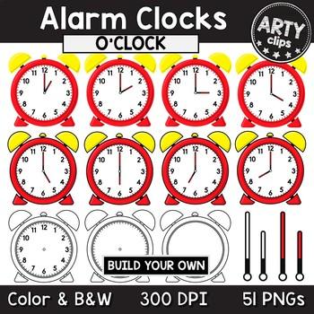 Alarm Clocks Clipart (O'CLOCK + BLANK) Math {Arty Clips ... Blank Alarm Clock Clipart