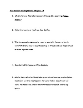 Alas, Babylon Reading Quiz Ch. 1-4