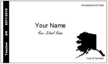 Alaska (AK) Homeschool ID Cards for Teachers and Students