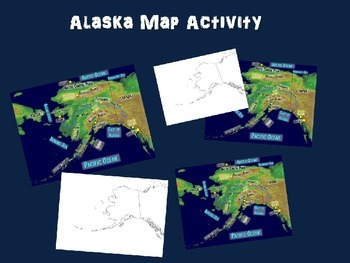 Alaska Map Activity- fun, engaging, follow-along PPT with blank map handouts