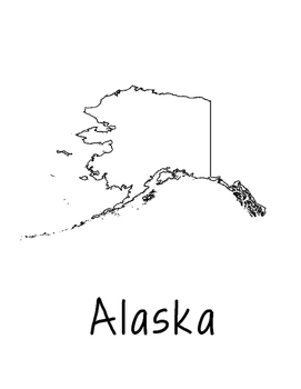 Alaska Map Coloring Page Craft - Lots of Room for Note-Tak
