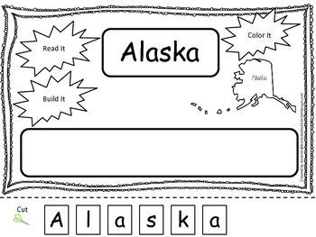 Alaska Read it, Build it, Color it Learn the States preschool worksheet.