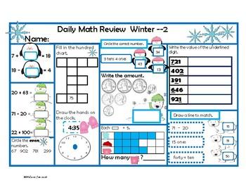 Alaska Standards 2nd Grade Daily Math Review Winter Theme