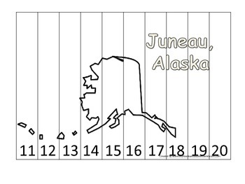 Alaska State Capital Number Sequence Puzzle 11-20.  Geography and Numbers.
