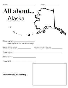 Alaska State Facts Worksheet: Elementary Version