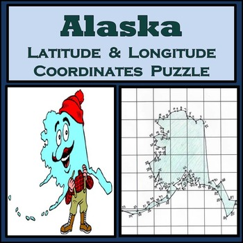 Alaska State Latitude & Longitude Coordinates Puzzle - 92 Points to Plot