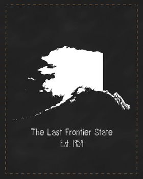 Alaska State Map Class Decor, Government, Geography, Black and White Design