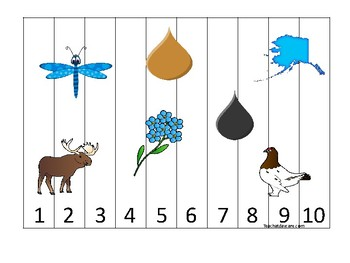 Alaska State Symbols themed 1-10 Number Sequence Puzzle Game. Preschool