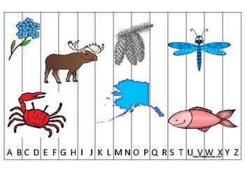 Alaska State Symbols themed Alphabet Sequence Puzzle Game.  Preschool Gam
