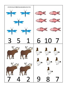 Alaska State Symbols themed Count and Clip Game. Preschool Game