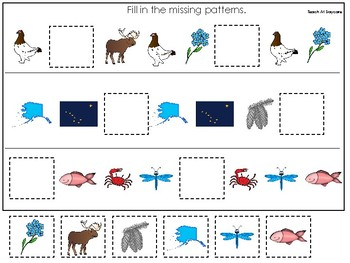 Alaska State Symbols themed Fill In the Missing Pattern Game. Preschool Game