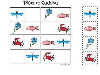 Alaska State Symbols themed Picture Sudoku Game. Preschool Game