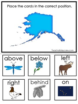 Alaska State Symbols themed Positional Word Game. Preschool Game