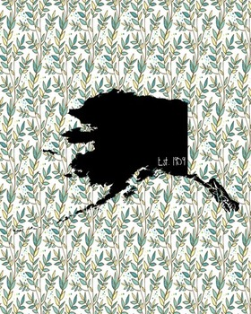 Alaska Vintage State Map or Poster Class Decor, Classroom Decoration