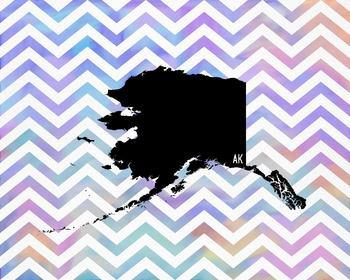 Alaska Chevron State Map Class Decor, Government, Geography