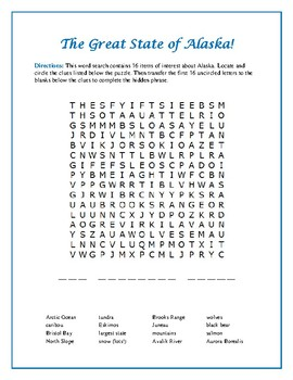 Alaska Word Search Puzzle with Hidden Message—Great Filler Activity!