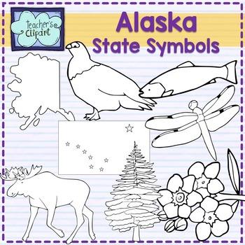 Alaska state symbols clipart