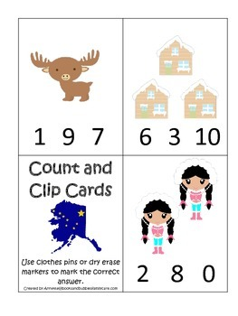 Alaska themed Count and Clip preschool math cards.  Daycare child care math.