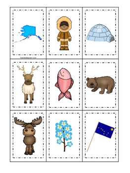 Alaska themed Memory Matching and Word Matching preschool curriculum game.