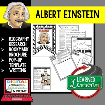Albert Einstein Biography Research, Bookmark Brochure, Pop-Up, Writing, Pi Day