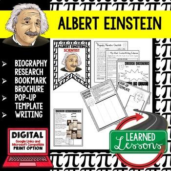 Albert Einstein Biography Research, Bookmark Brochure, Pop