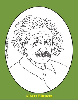 Albert Einstein Clip Art, Coloring Page, or Mini-Poster