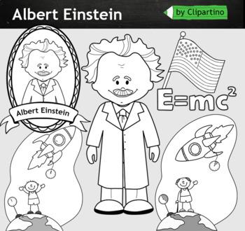 Albert Einstein Clipart BW - inventors Clip Art