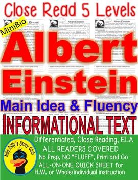 Albert Einstein CLOSE READING 5 LEVEL COMPREHENSION PASSAGES Main idea Fluency!!