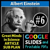 Albert Einstein - Great Minds in Science Article #6 - Science Literacy Sub Plan