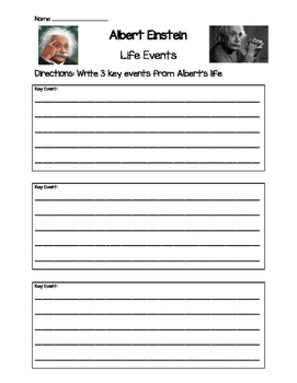 Albert Einstein- Key Life Events Worksheet