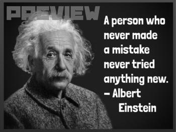 albert einstein quote growth mindset poster by social studies