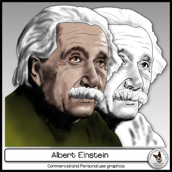 Albert Einstein Realistic Clip Art Portrait