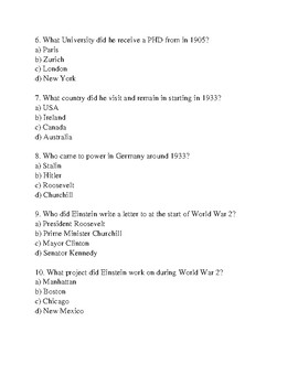 Albert Einstein - life history facts information questions word search