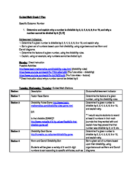 Alberta Aligned Grade 7 Guided Math Divisibility Rules Plan