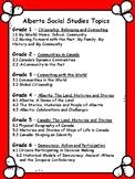 Alberta, CANADA Social Studies Topics Grade 1-6