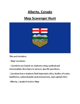 Alberta, Canada Map Scavenger Hunt
