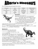 Alberta Dinosaurs Cloze