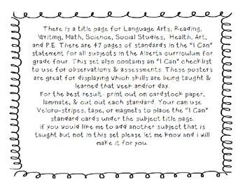 Alberta Grade 4 Curriculum Standards I Can Posters