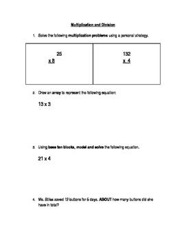Alberta Aligned Grade 4 Multi-Digit Multiplication and Division Assessment