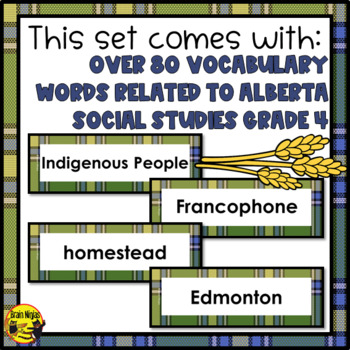 Alberta Grade 4 Social Studies Word Wall Words Editable