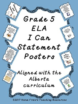 Alberta Grade 5 ELA Standards in I Can Statement Poster Format