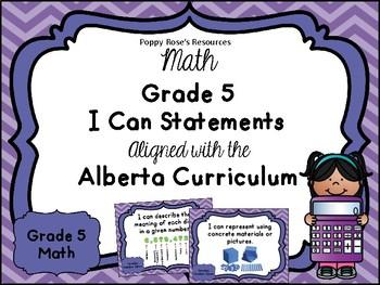 Alberta Grade 5 Math I Can Statements