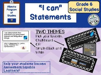 """Alberta Grade 6 Social Studies """"I can"""" statements- chalkboard theme"""
