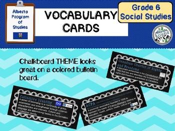 Alberta Grade 6 Social Studies Vocabulary - chalkboard theme